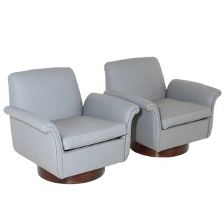Pair Mid Century Modern Leather Swivel Lounge Chairs For Sale