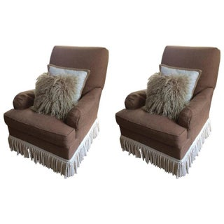 Hickory Chair Taupe Club Chairs - A Pair For Sale