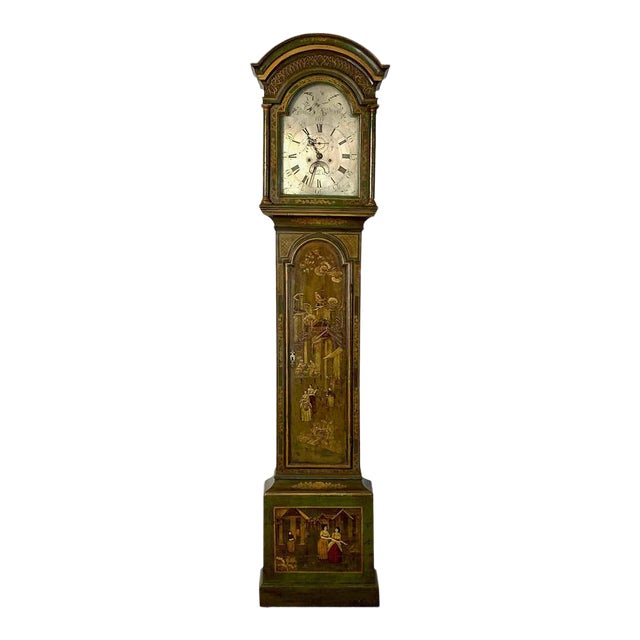 George III Chinoiserie Decorated Long Case Clock For Sale