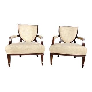 Henredon Furniture Barbara Barry Walnut Shield Back Lounge Chairs - Set of 2 For Sale