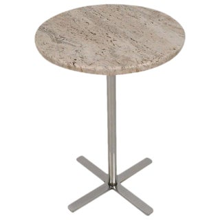 1970s Travertine Marble and Chrome Drinks Table