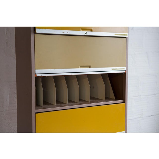 Vintage Orange & Yellow Steel Tab Office Cabinets For Sale - Image 7 of 7
