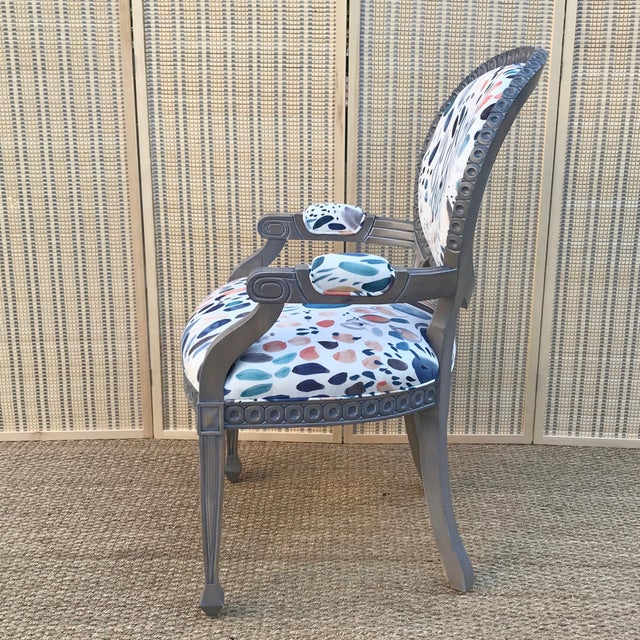 Contemporary Louis XVI Grey Chair For Sale - Image 3 of 8