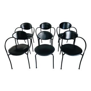 1980s Postmodern Leather Chairs by Cidue- Set of 6 For Sale