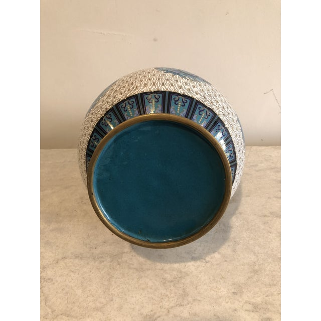 Early 20th Century Early 20th Century Chinoiserie Blue & Gold Cloisonné Vase For Sale - Image 5 of 7