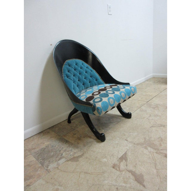 Hollywood Regency Style Modern Scoop Back Fireside Lounge Club Chair For Sale - Image 10 of 10