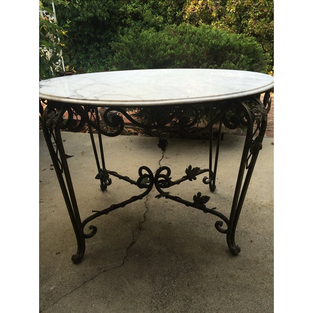 Solid Marble Top Beveled Wrought Iron Table - Image 5 of 10
