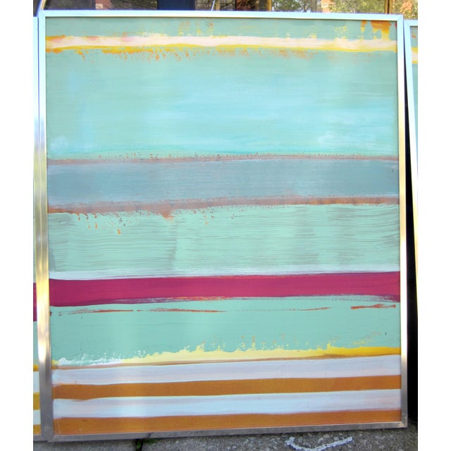 1980s Vintage Four Panel Abstract Geometric Seaside Pastel Horizontal Line Paintings - Set of 2 For Sale - Image 4 of 12