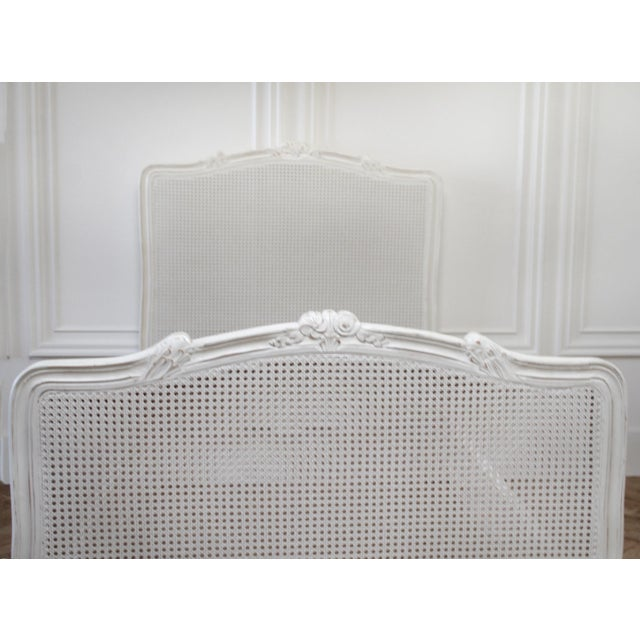 Mid 20th Century Reproduction Twin Carved and Painted Louis XV Style French Bed With Cane For Sale - Image 5 of 12