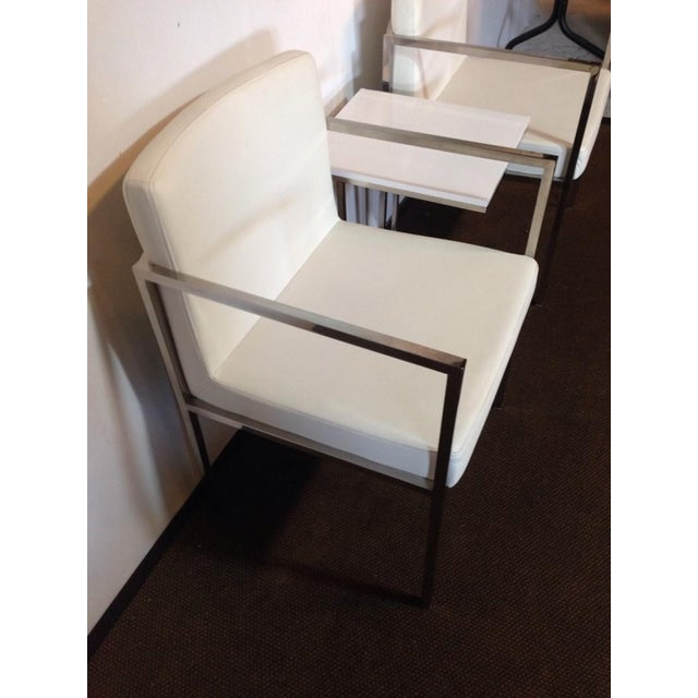 White Leather and Chrome Chairs and Table - S/3 - Image 4 of 6