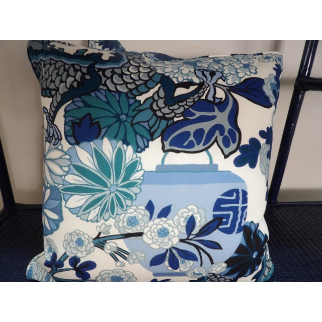 2020s Blues & White Custom Made Pillows With Dragon Design - A Pair For Sale - Image 5 of 7