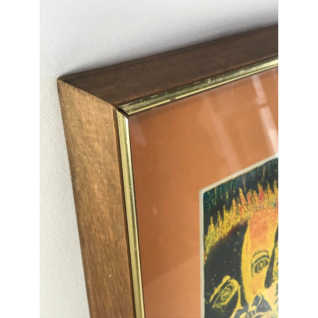 Vintage 1974 Framed A/P Relief Print Portrait by Ed Goldstein For Sale - Image 10 of 12
