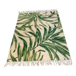 Hand Painted Botanical Indian Rug- 6′2″ × 7′11″ For Sale