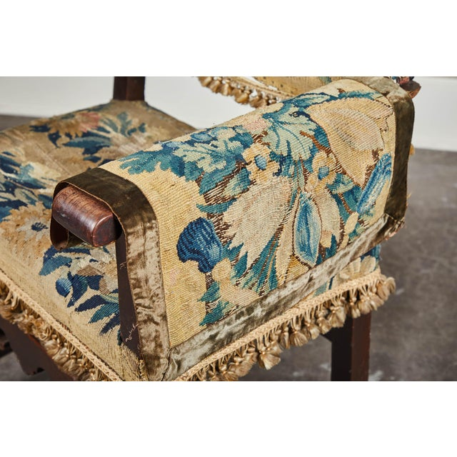 Fabric 19th C. Spanish Walnut Chair With Embroidered Upholstery For Sale - Image 7 of 9