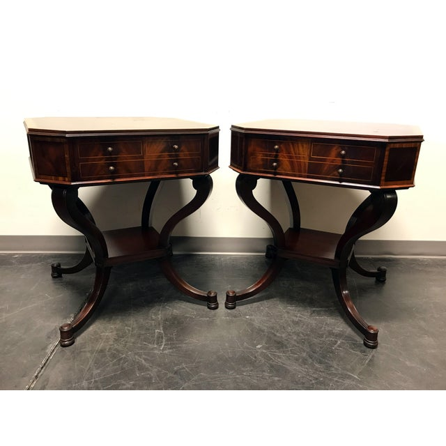 Weiman inlaid flame mahogany 2 tier end side lamp tables a pair weiman inlaid flame mahogany 2 tier end side lamp tables a pair image 3 mozeypictures Gallery
