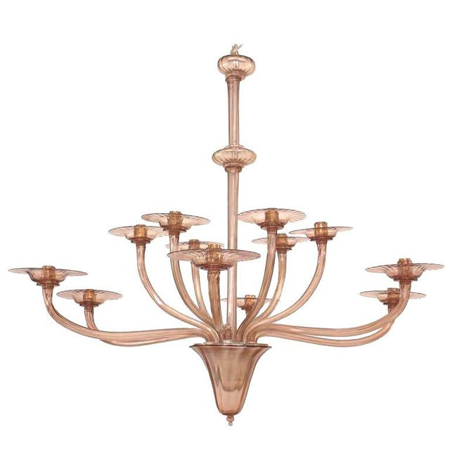 1940s 1940s Italian Murano Tiered Amethyst Chandelier Attributed to Venini For Sale - Image 5 of 5