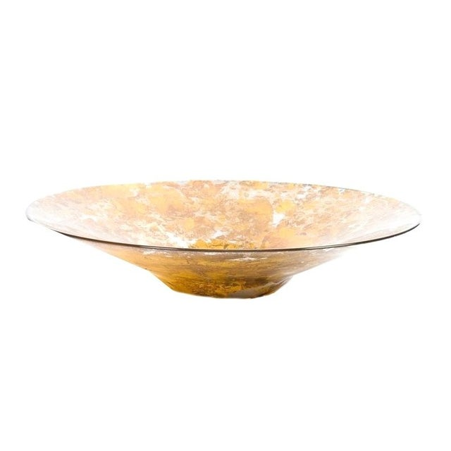 Decorative Gold Flecked Glass Bowl For Sale