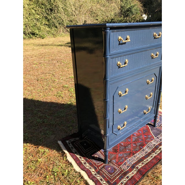 Wood 1970s Lacquered Faux Bamboo Broyhill Dresser For Sale - Image 7 of 13