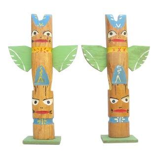 1960s Native American Souvenir Totem Pole Sculptures, Pair For Sale