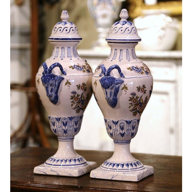 """French Pair of Mid-Century French Hand Painted Faience """"Saint Clement"""" Urns With Lids For Sale - Image 3 of 13"""