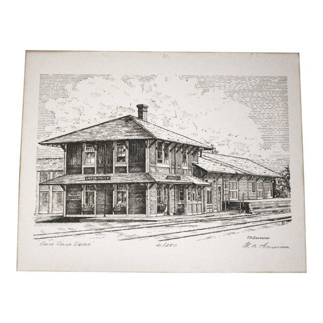 Train Station Ventura County Southern California Santa Paula Depot Limited Edition Print by Timothy Gaussiran 41/250 For Sale