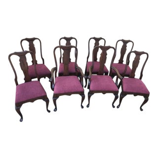1990s Pennsylvania House Queen Anne Cherry Wood Dining Room Chairs- Set of 8 For Sale