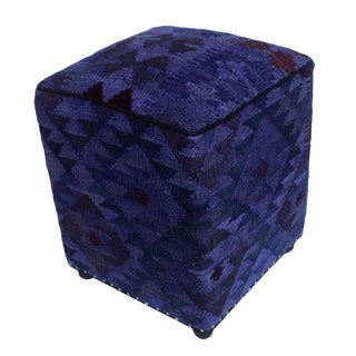 Arshs Delta Purple/Drk. Gray Kilim Upholstered Handmade Ottoman For Sale