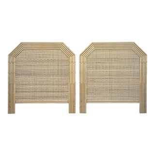 Boho Chic Geometric Woven Wicker Rattan and Faux Bamboo Headboards - a Pair For Sale