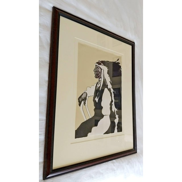 Exquisite Mid-Century Modern Framed Print of Native American Signed ...