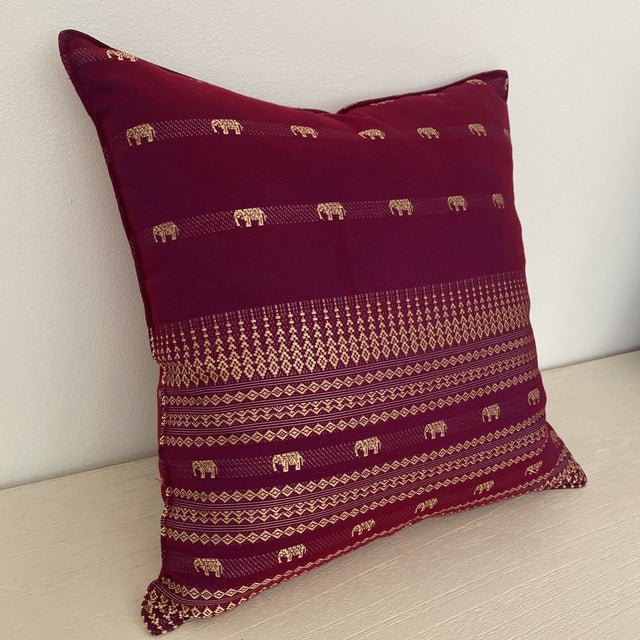 Asian Magenta Thai Silk Pillow With Elephant Motifs For Sale - Image 3 of 12