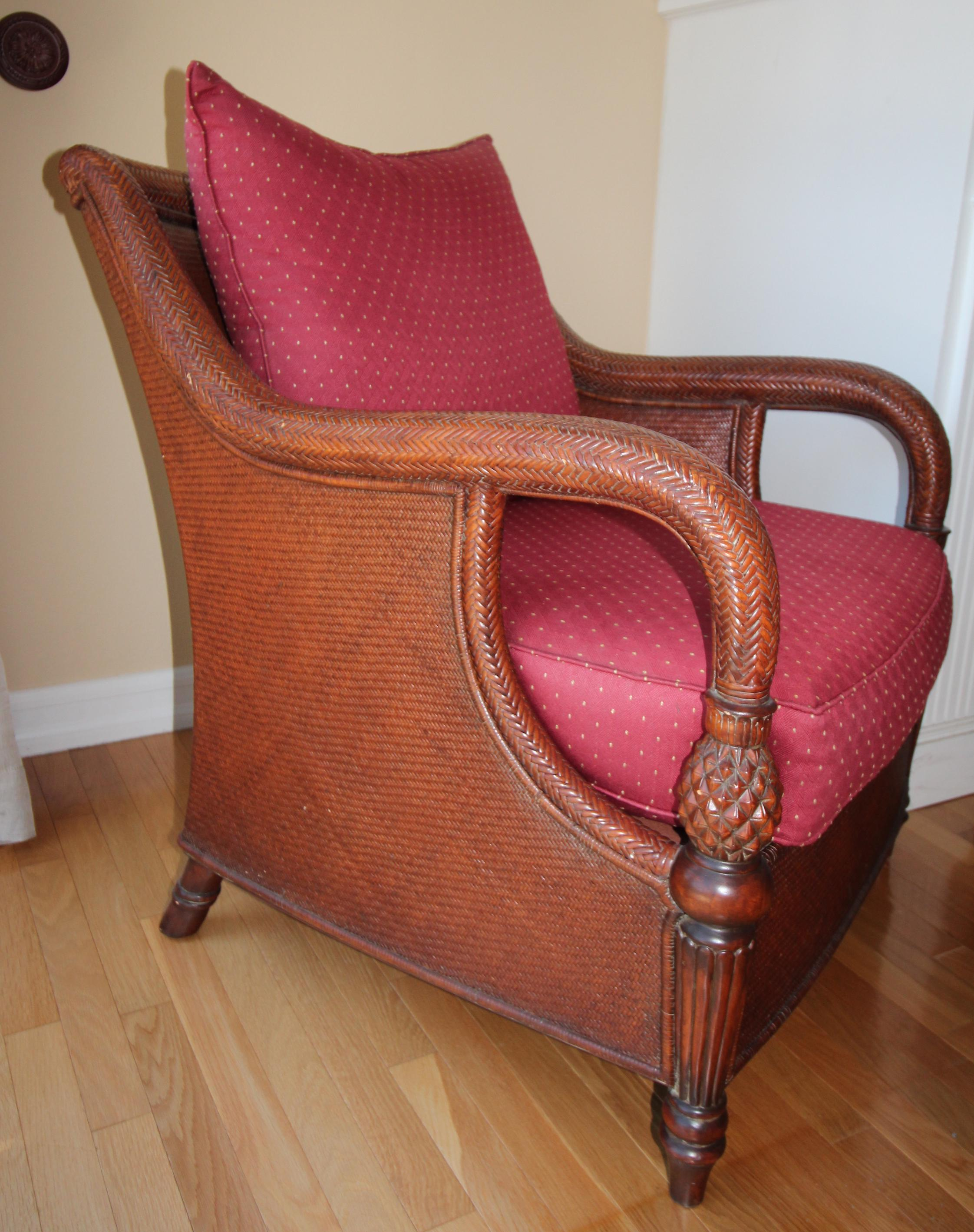 Superbe Palm Grove Chair With A Wood Woven Cane Frame And Sweeping Rolled Arms.  Pineapple Turnings