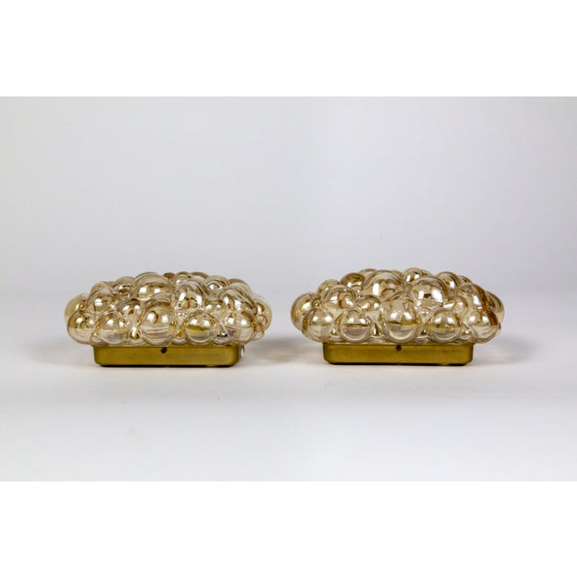 Brass Oblong Translucent Amber Glass Bubble Sconces by Helena Tynell (Pair) For Sale - Image 7 of 10