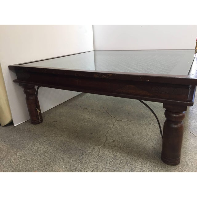 Metal 20th Century Anglo Indian Wooden Coffee Table With Iron and Glass For Sale - Image 7 of 7