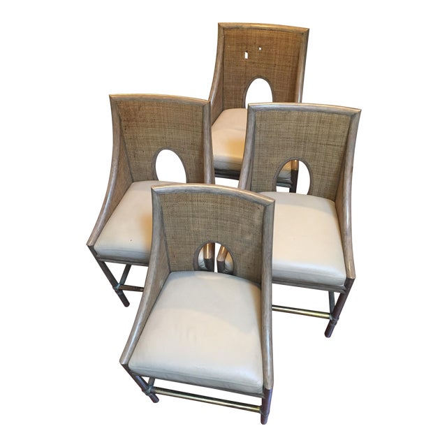 Leather Rattan Cane Counter Height Chairs - Set of 4 - Image 1 of 12