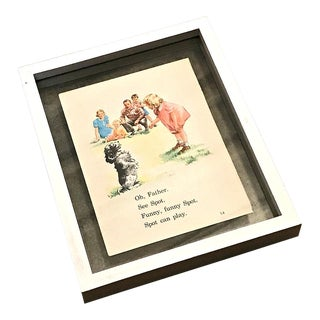 Vintage Dick and Jane Double Sided Float Framed Art Print