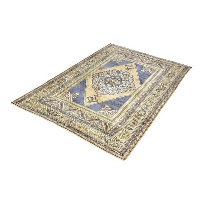 Vintage Blue Turkish Area Rug 6' X 10' For Sale In Houston - Image 6 of 6
