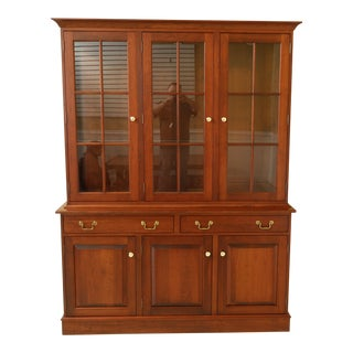 Pipers Grove Solid Cherry China Cupboard Cabinet For Sale