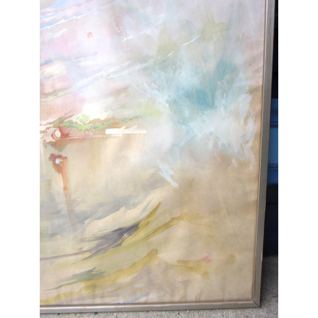 Vintage Mid-Century Abstract Soft Pastel on Paper Signed & Framed Painting For Sale In Chicago - Image 6 of 10