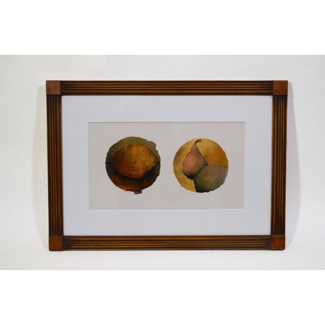 Wood Small Oil Painting of Pears on Paper For Sale - Image 7 of 7