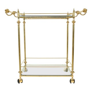 Vintage Solid Brass/Glass Shelves Two-Tiers Bar Cart For Sale