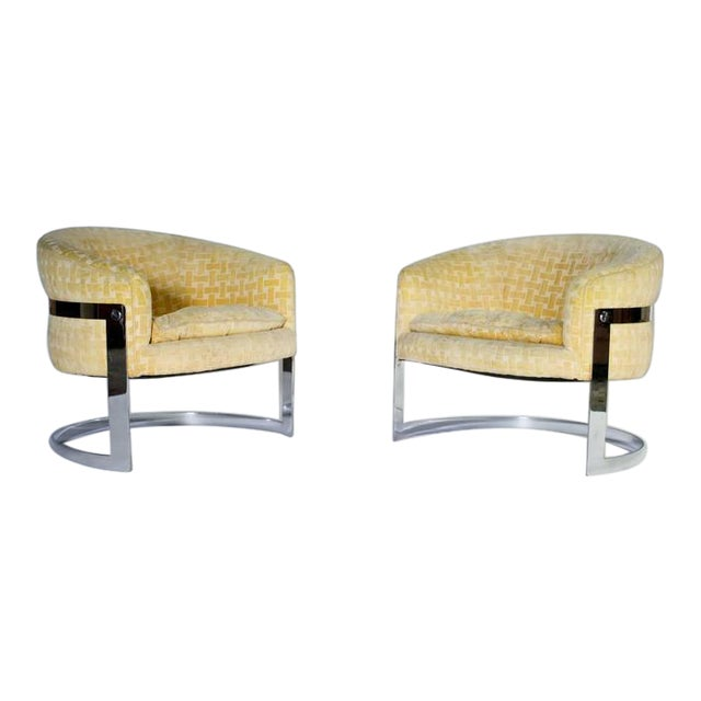 Milo Baughman Mid-Century Modern Cantilevered Chrome Barrel Chairs For Sale