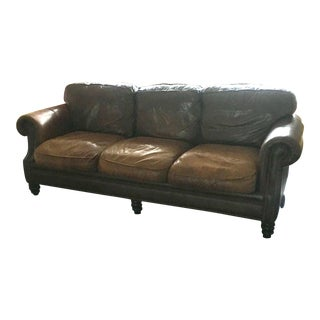 Bloomingdale's Distressed Leather Sofa For Sale