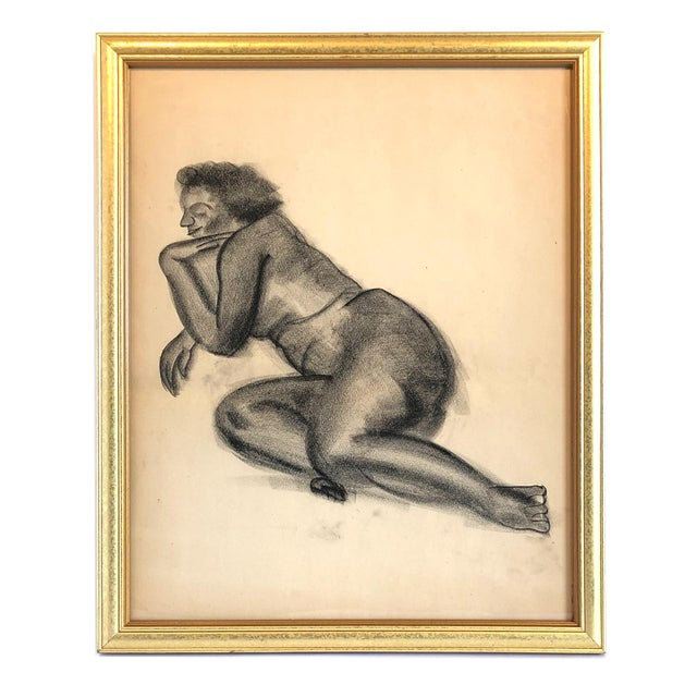 Charcoal Mid-Century Gallery Wall Collection Nude Figure Drawings and Paintings - Set of 4 For Sale - Image 8 of 12