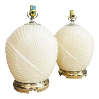 Pair of 1980s Deco Pleated Glass Table Lamps For Sale