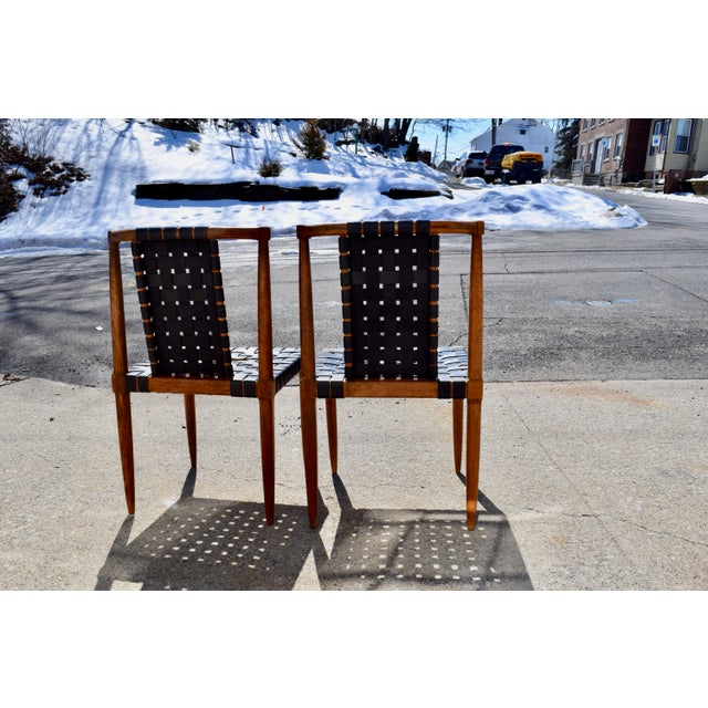 Black 1950s Mid-Century Modern Tomlinson Leather Strap Dining Chairs - a Pair For Sale - Image 8 of 10