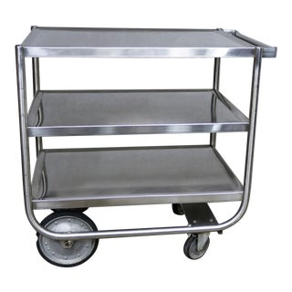 Industrial Three Tier Stainless Steel Rolling Cart Vintage For Sale