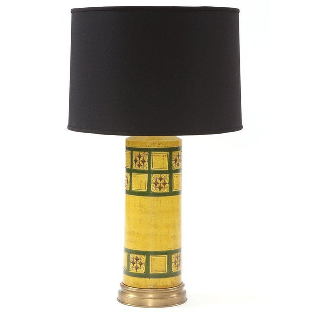 Raymor Raymor Glazed Ceramic and Brass Lamp For Sale - Image 4 of 4