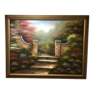 Late 20th Century Gates Opening Into Garden Large Painting For Sale