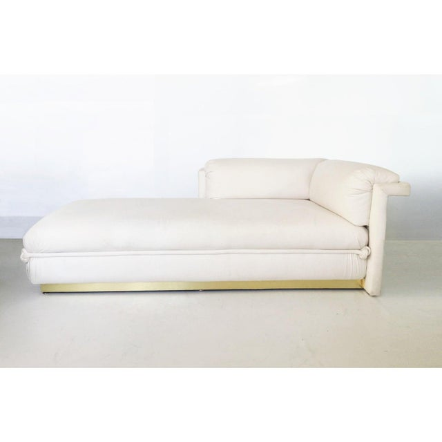 Offered are two French Art Deco chaise lounges with brass base. These exquisite chaise lounges that combine the most...