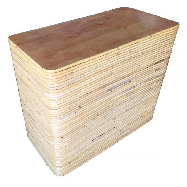 Restored Stacked Rattan And Mahogany Lowboy Dresser Chairish